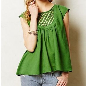 Anthro HD In Paris Green Lattice Weave Top XS